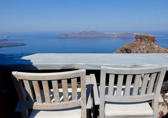 Outdoor sitting offers great caldera views.