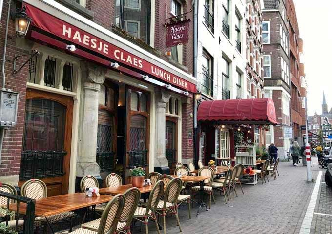Haesje Claes is known for its traditional Dutch dishes, smoked fish, and seafood platters.