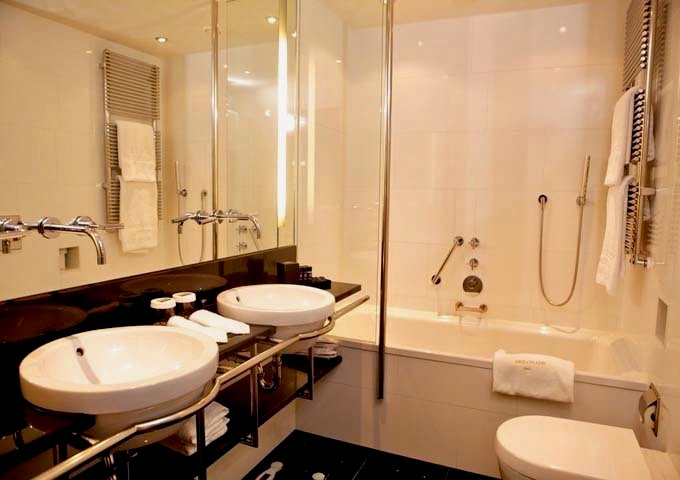 Most bathrooms have a bath-and-shower combo.