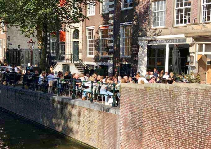 Herengracht restaurant and bar is popular for its canal-side seating and modern European dishes.