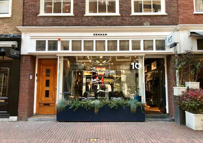 Denham sells men's denim wear, with a women's branch nearby.