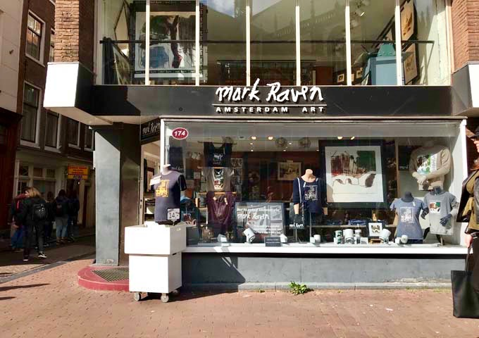 Mark Raven Amsterdam Art sells Amsterdam-inspired memorabilia and t-shirts.