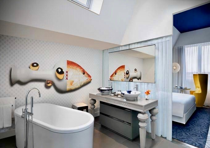 The Andaz Suite's open-plan bathroom also features a free-standing tub.