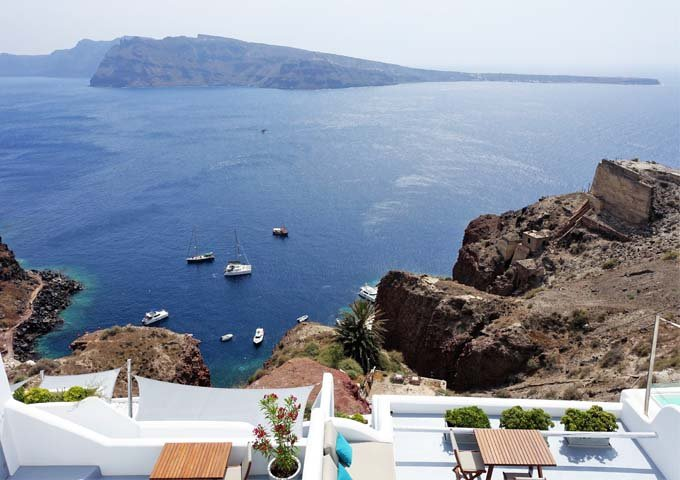 The hotel offers fantastic caldera and sunset views.