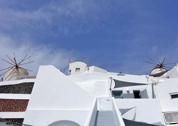 The hotel is located under Santorini's windmills.