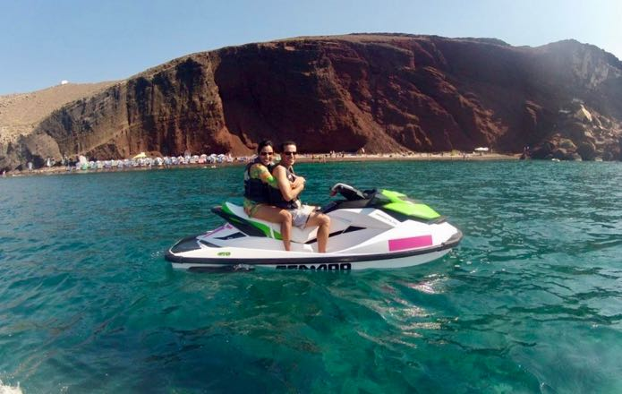 Sharing jet ski between two people.