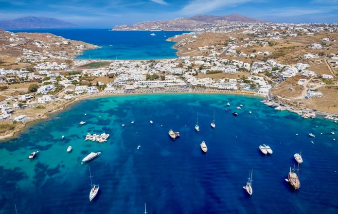 View of Mykonos Beaches from the helicopter from Santorini to Mykonos.