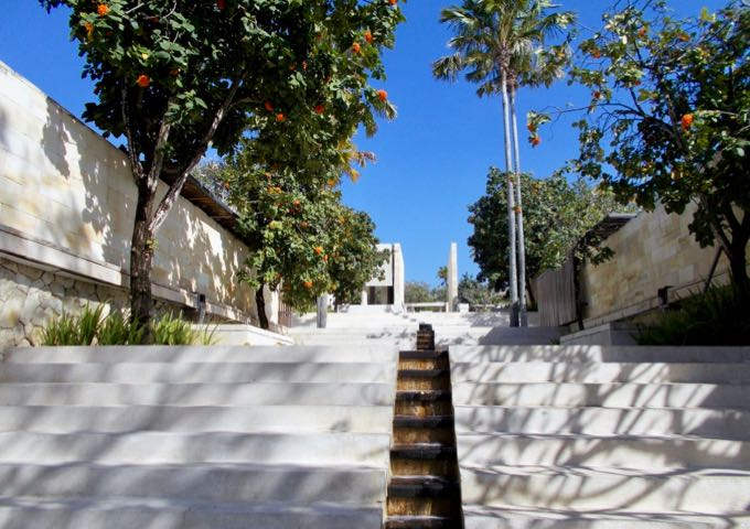 The hilly layout of the resort requires stairs to reach most villas.