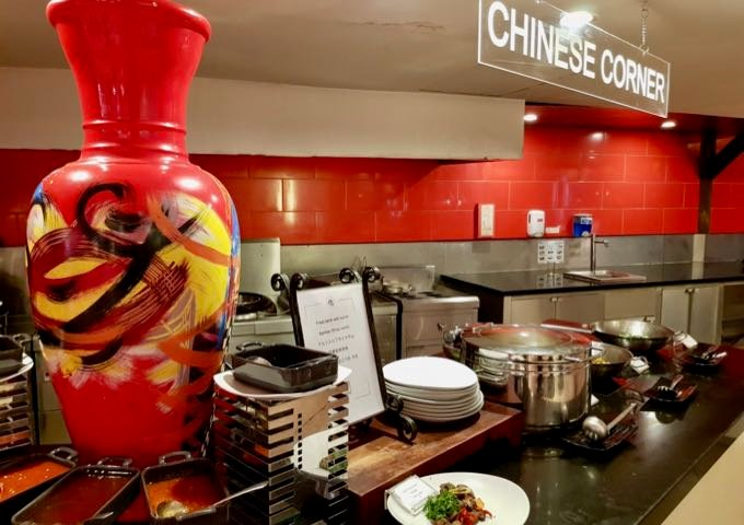 The Agung serves Chinese, Japanese, and Indian food in designated areas.