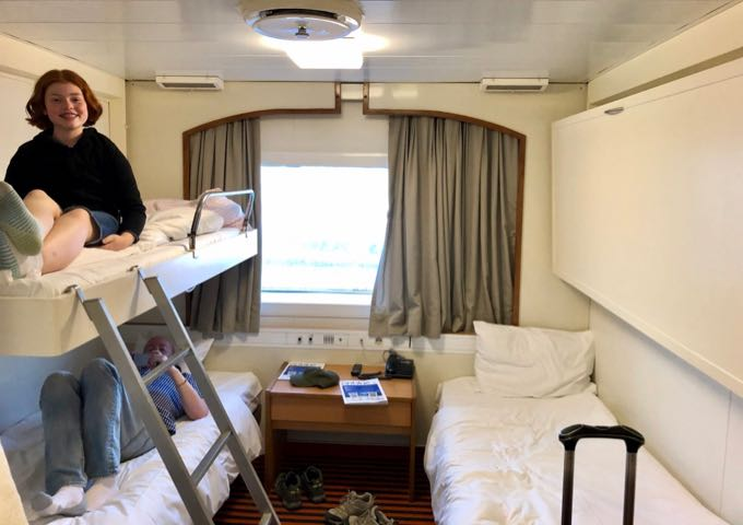 Four-bunk room on the Blue Star Naxos ferry.