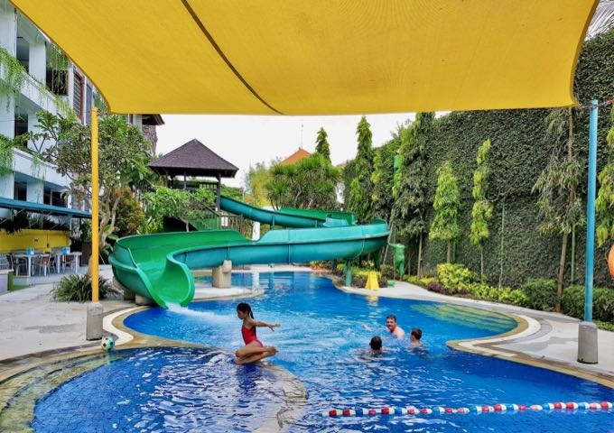 The resort has a massive main pool and a children's pool with a long waterslide.