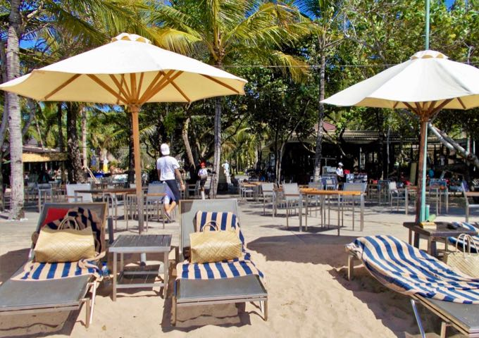 The resort offers plenty of lounge chairs and umbrellas at the beach.