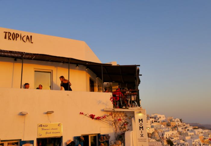 Best sunset view bar in Fira.