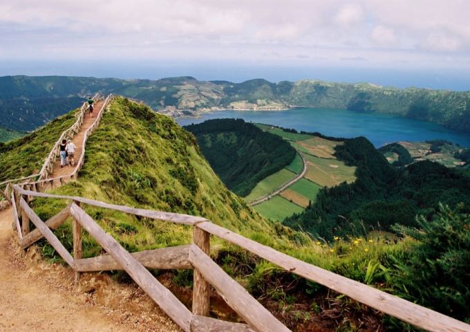 Walking path and mountainous scenery in São Miguel Island in Portugal's Azores archipelago.