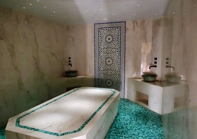 The spa has a marble and mosaic tile hammam.