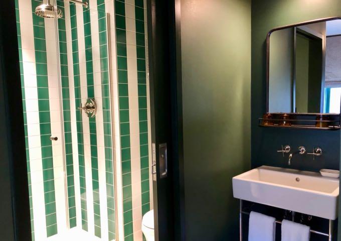 Bathroom with rainfall shower head in Palihotel Seattle