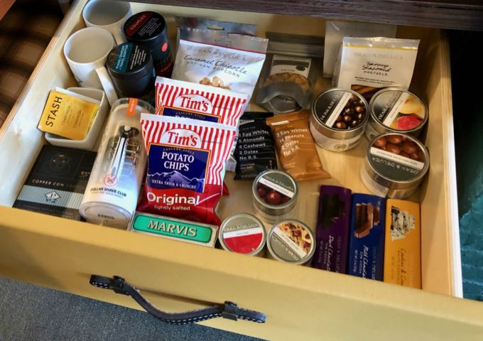 Minibar in guest room at Palihotel Seattle