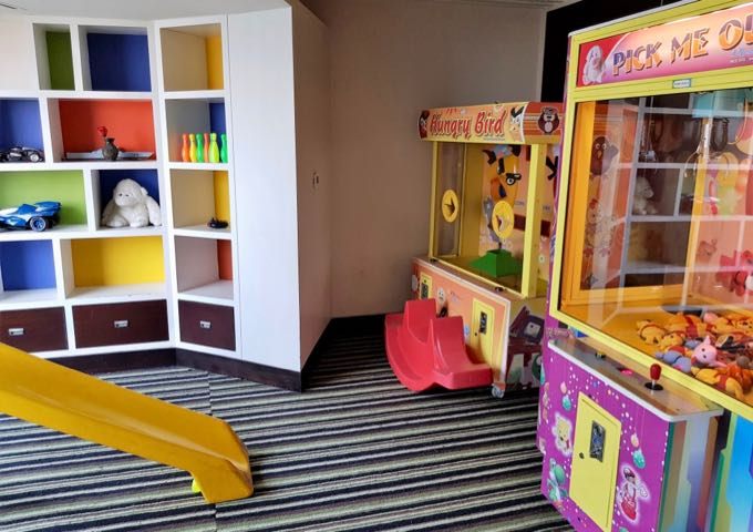 The kids zone has a modest collection of toys.