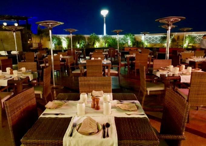 Sky Grill offers tables across the rooftop.