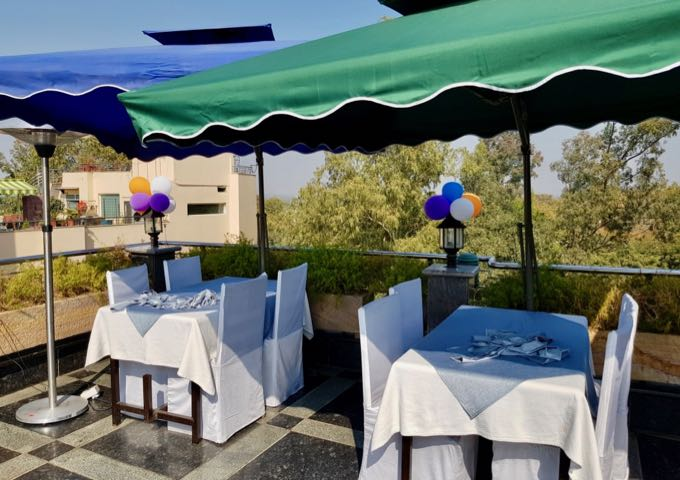 The rooftop Taj Terrace restaurant offers distant views of the Taj Mahal.