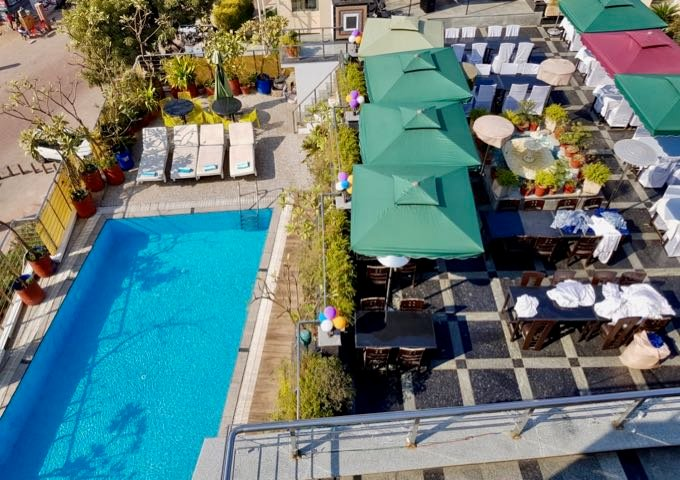 The hotel rooftop hosts an enviable pool and cafe.