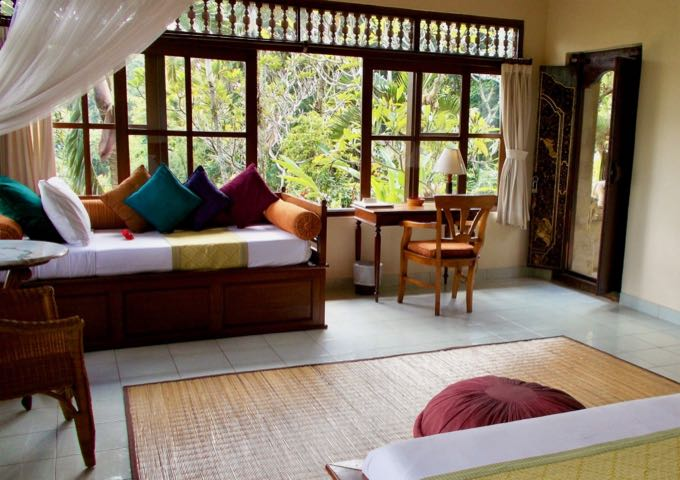 The spacious rooms have large windows to catch the valley breezes.