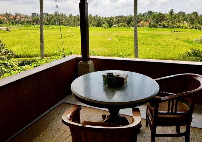 Upper-floor villas offer excellent views of the rice fields.