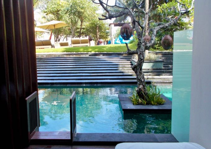 Ground-floor suites have small patios with access to the pool.