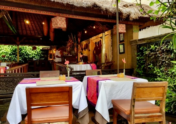 The elegant Ibu Rai Restaurant is at the junction where the hotel lane meets Monkey Forest road.