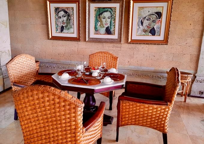 The Terrace Restaurant, along with the hotel, has an enchanting decor.