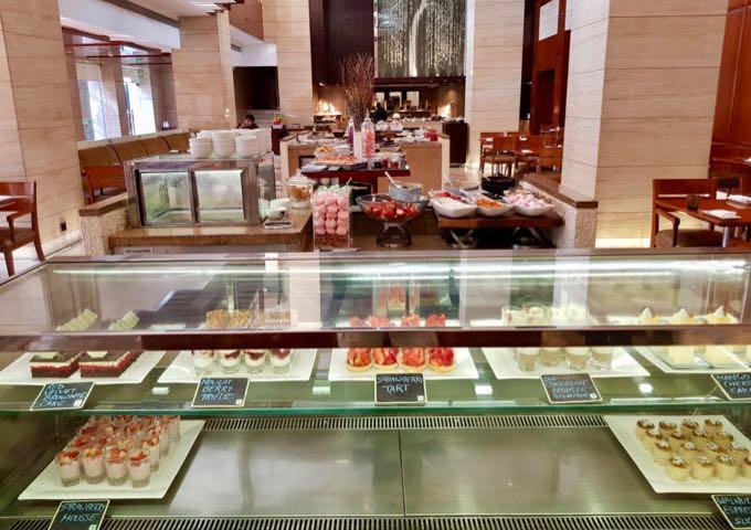 Café serves a good selection of desserts.