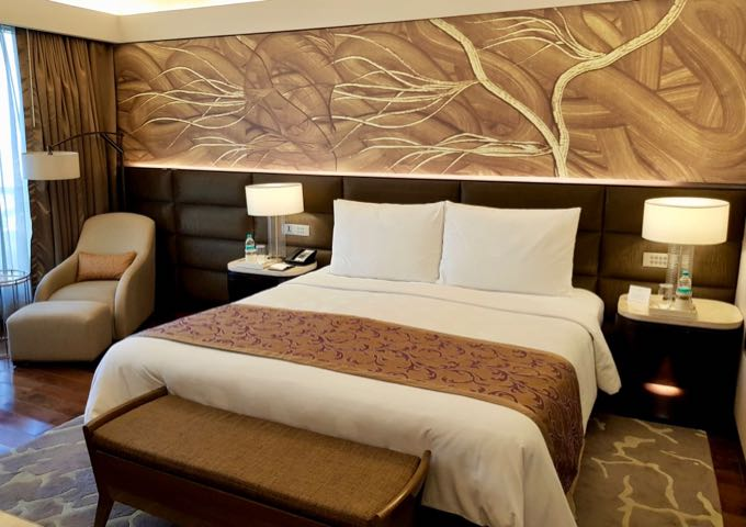 The bedrooms have a contemporary decor with Indian themes.