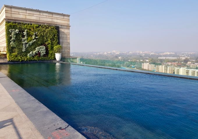 The infinity-edged rooftop pool is stunning.