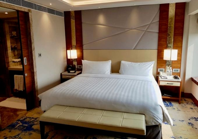 The spacious suite bedrooms feature hints of Indian decor.