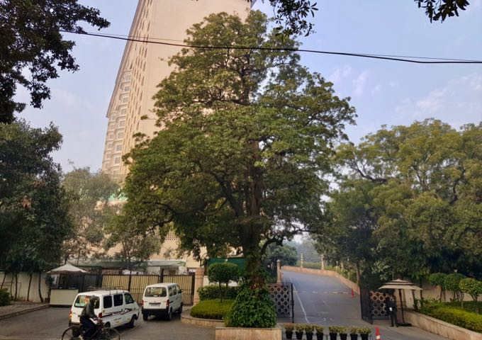 The imposing hotel dominates a quiet area of New Delhi.