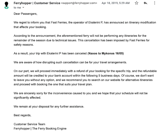 Email from Ferryhopper notifying customer of a cancellation and instructions on how to proceed