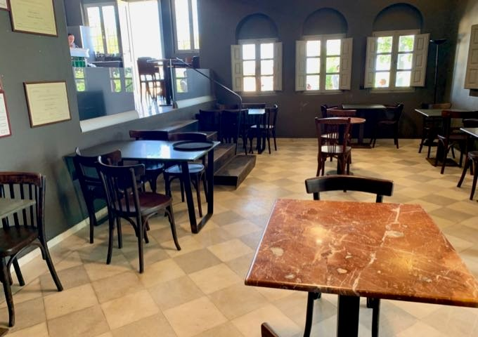Indoor seating in Domaine Sigalas Winery Tasting Room
