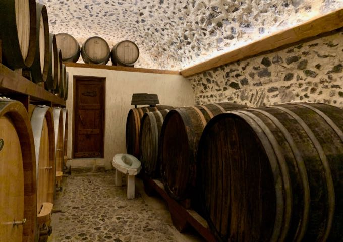 Barrel room at Gavalas Winery in Megalochori