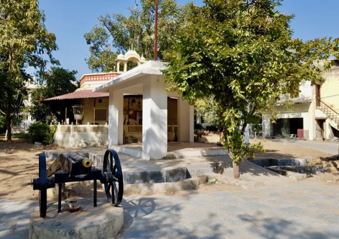 The hotel's village-style compound boasts a canon and a Hindu temple.