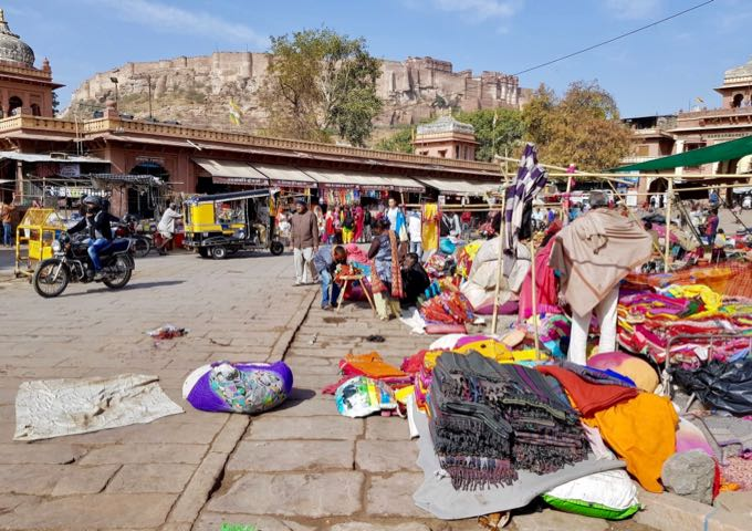 The Mehrangarh Fort is visible from across the Old City and Sardar Market.