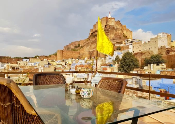 The rooftop cafe also offers view of the Mehrangarh Fort.