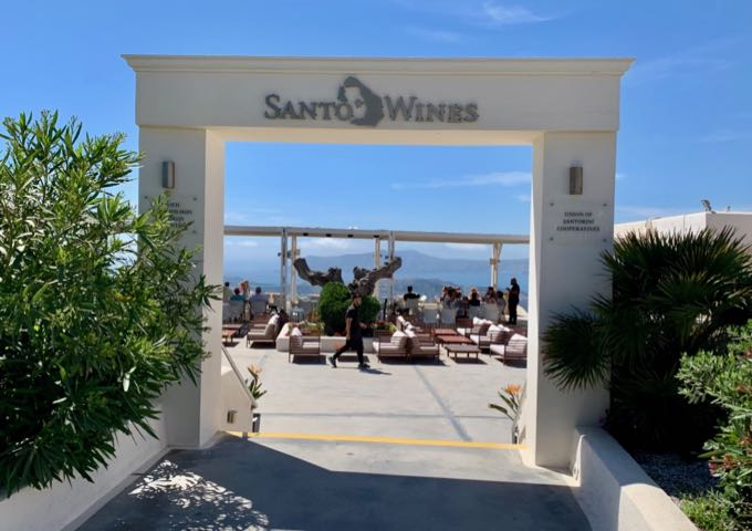 Entrance of Santo Wines in Santorini
