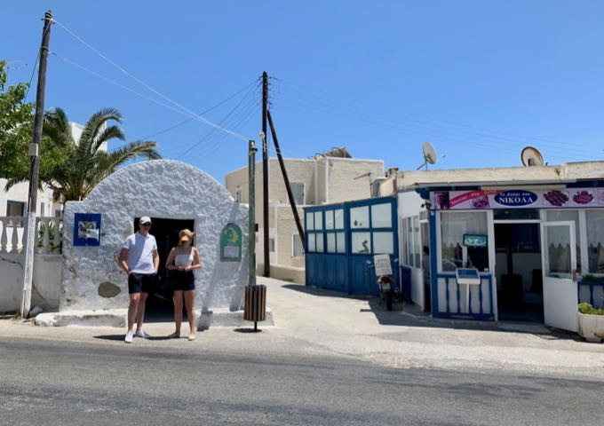 Bus stop near Gavalas Winery on Santorini
