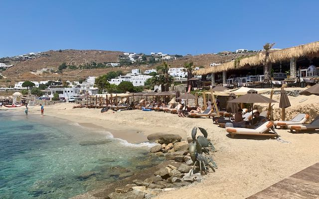 Hippie Fish beach club in Mykonos.