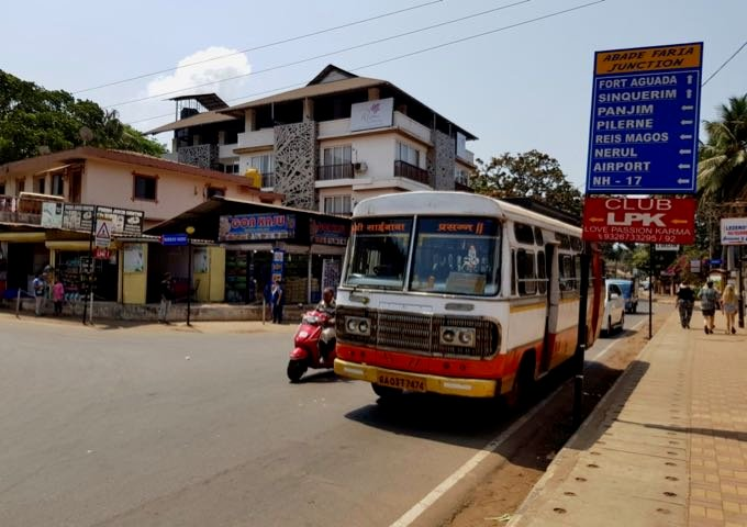 Buses connect to facilities in Candolim, Calangute, and Panjim.