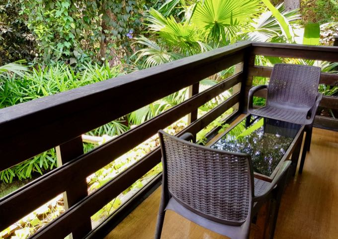 The balconies offer lush green views.