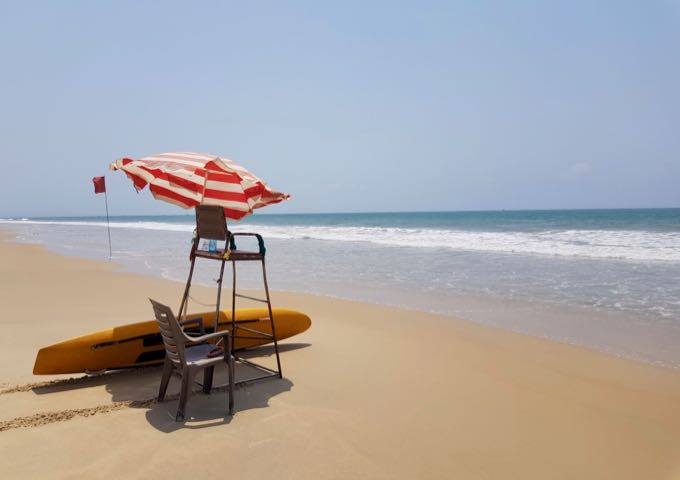 Flags identify areas with lifeguards that are safe to swim in.