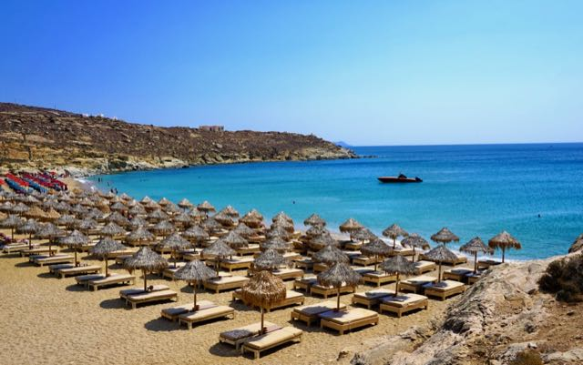 Great swimming beach in Mykonos.