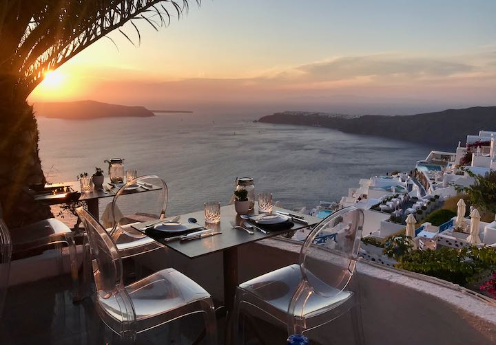 The best restaurant in Santorini with caldera and sunset views.