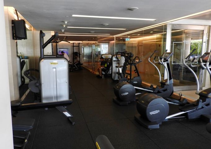 The gym is fairly large and well-equipped.